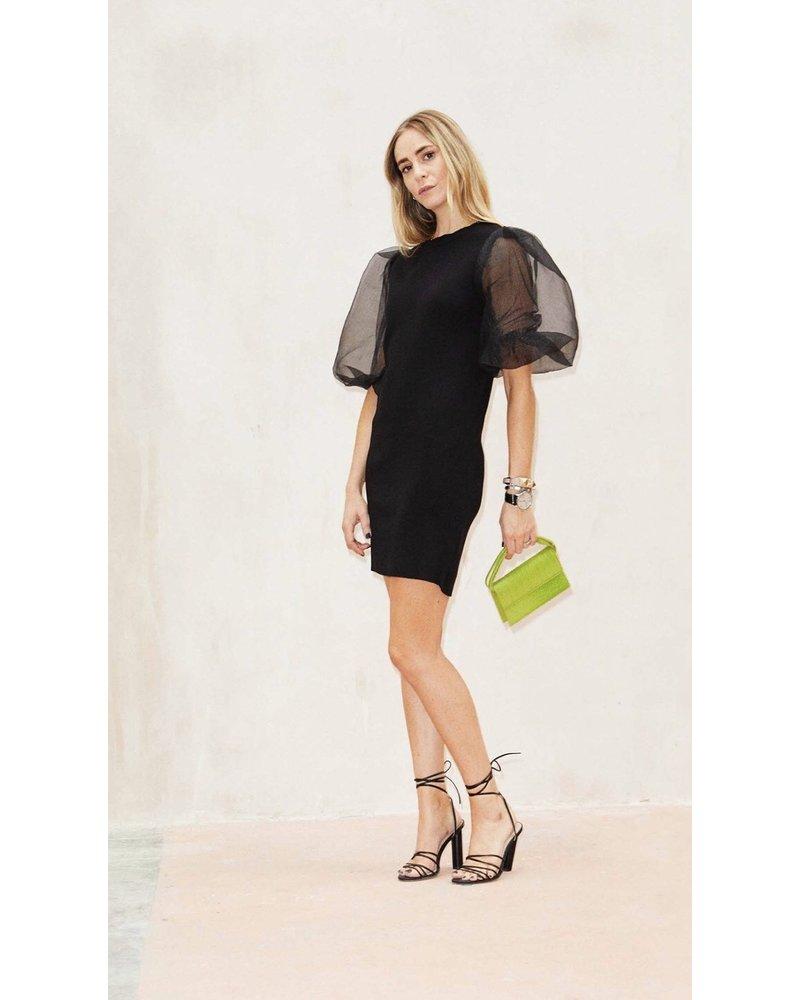 Never Fully Dressed Sheer Puff Sleeve Dress