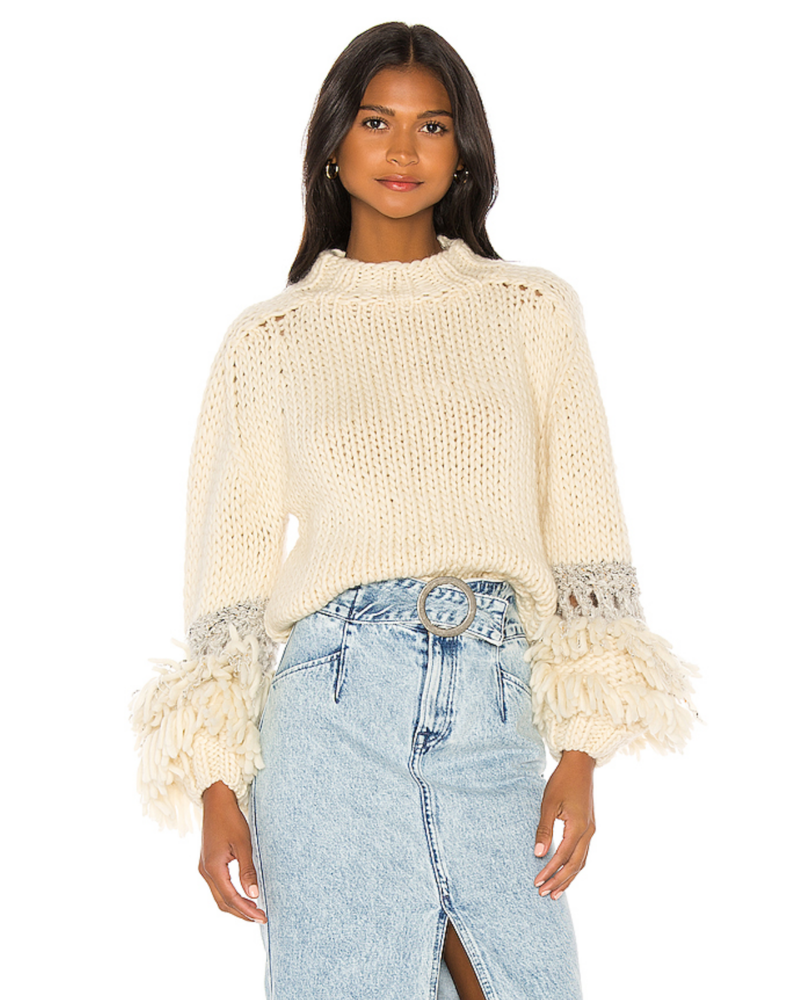 Maiami Fringed Sleeve Sweater