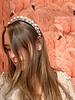 Large Pearl Silver Velvet Headband