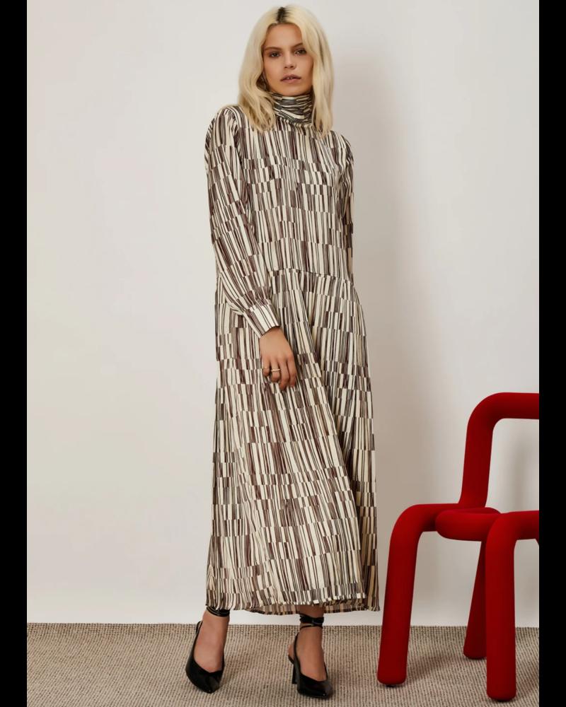 Sister Jane Overlap Lines Pleated Midi Dress