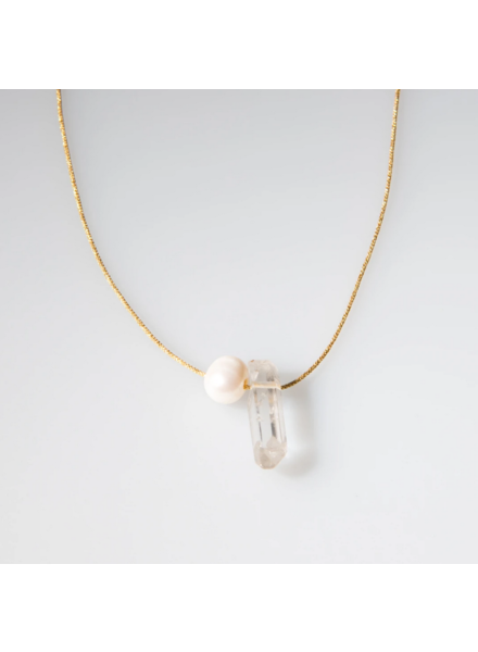 OIYA Crystal & Pearl Necklace