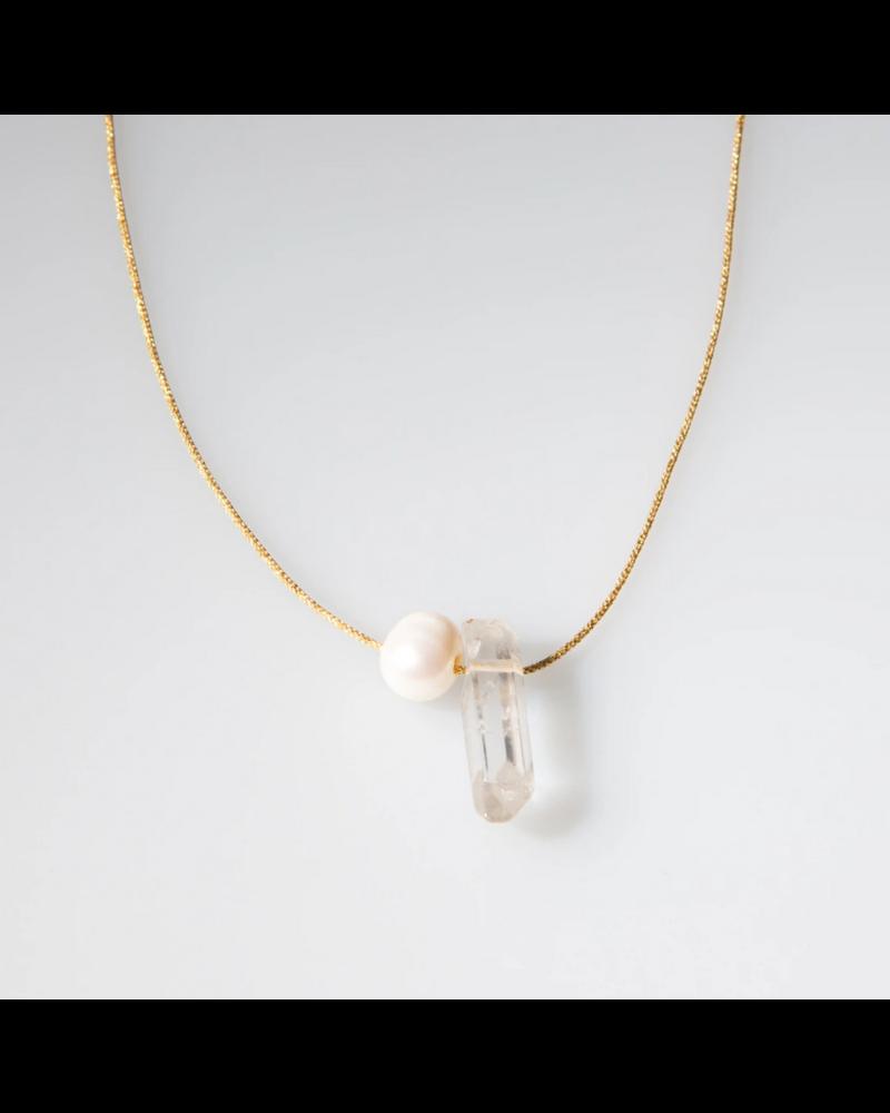 OIYA Crystal & Pearl Necklace