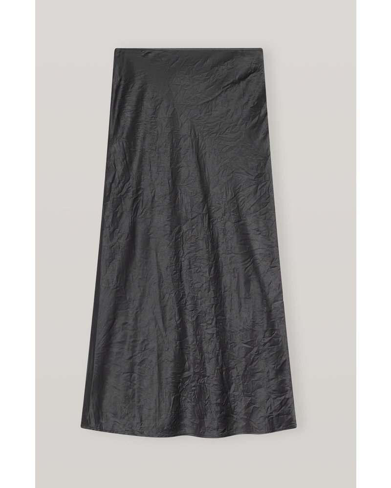 GANNI Crinkled Satin Skirt