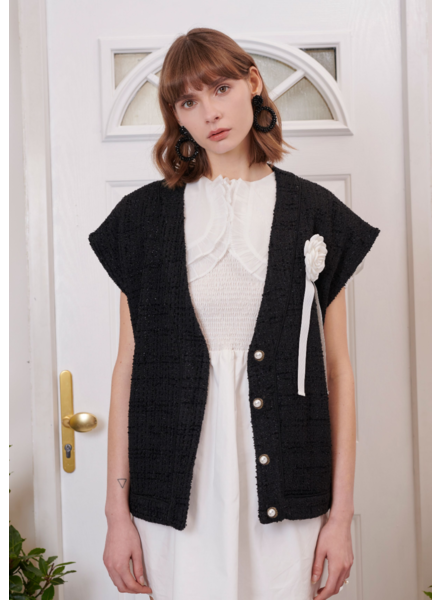 Sister Jane Sweetheart Tweed Sleeveless Cardigan