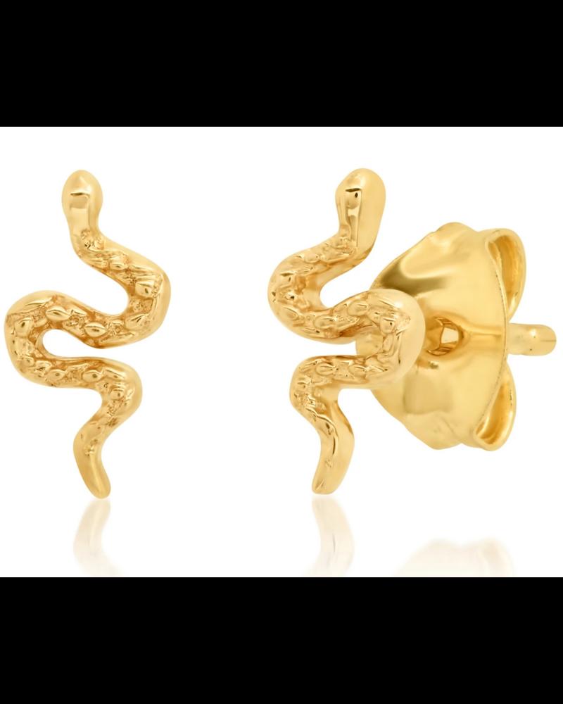 Tai 14k Yellow Gold Snake Post Earrings