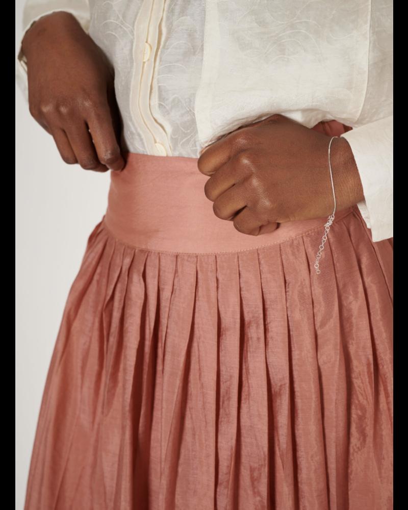 Ghospell Pawn Pleat Midi Skirt