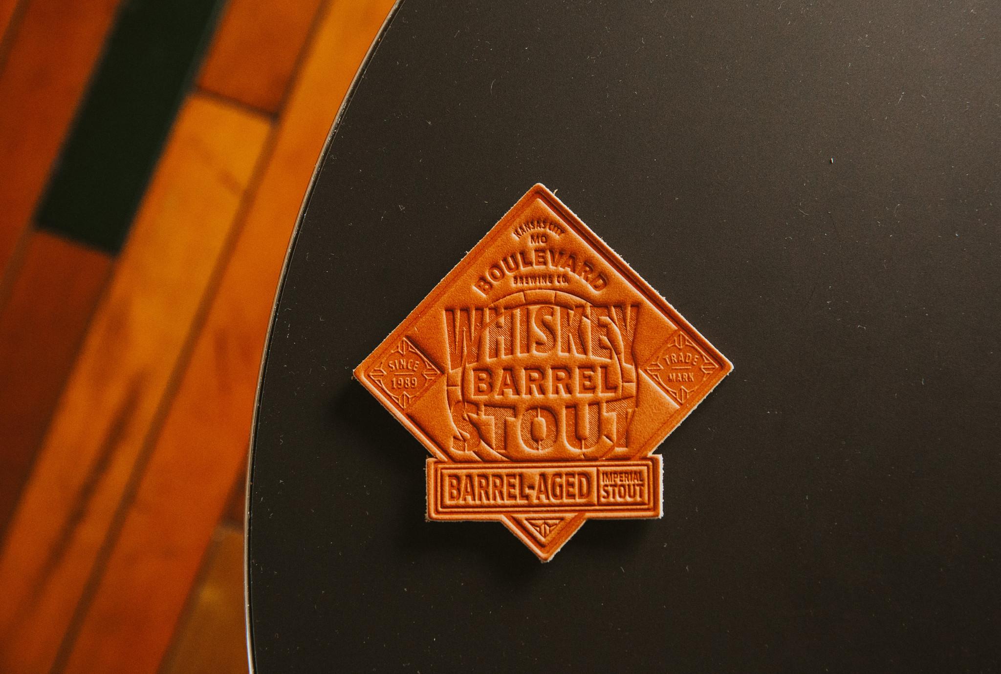Whiskey Barrel Stout Leather Coaster