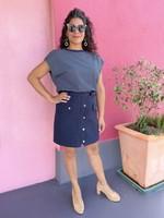 Suncoo High Waist navy Skirt
