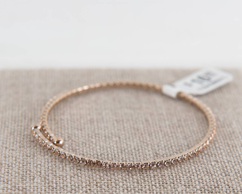 Theia Bangles 11043B0010-ChampagneCZBangleAntiqueGold