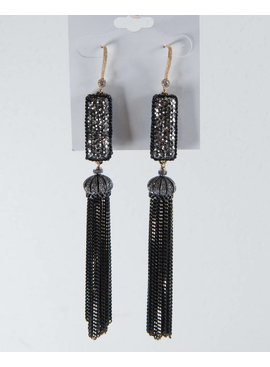 Theia Earrings 14567E0098-2MotifCZTasselEarringsGoldBlack