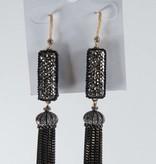 Theia Earrings 14567E0098-2MotifCZTasselEarringsGoldBlack