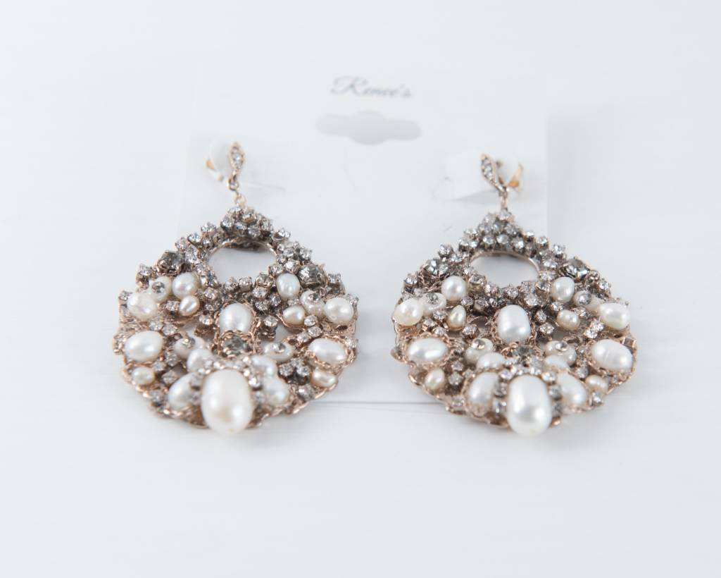 Theia Earrings 10386E0079-FloraPearlsSwarovskiEarringsAntiqueGold