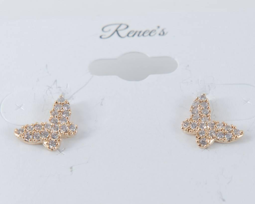 Theia Earrings 28905E0022-PapillionStudEarringsCZGold