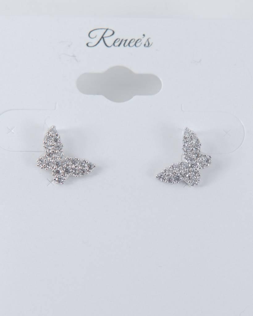 Theia Earrings 28907E0022-PapillionStudEarringCZWhiteGold