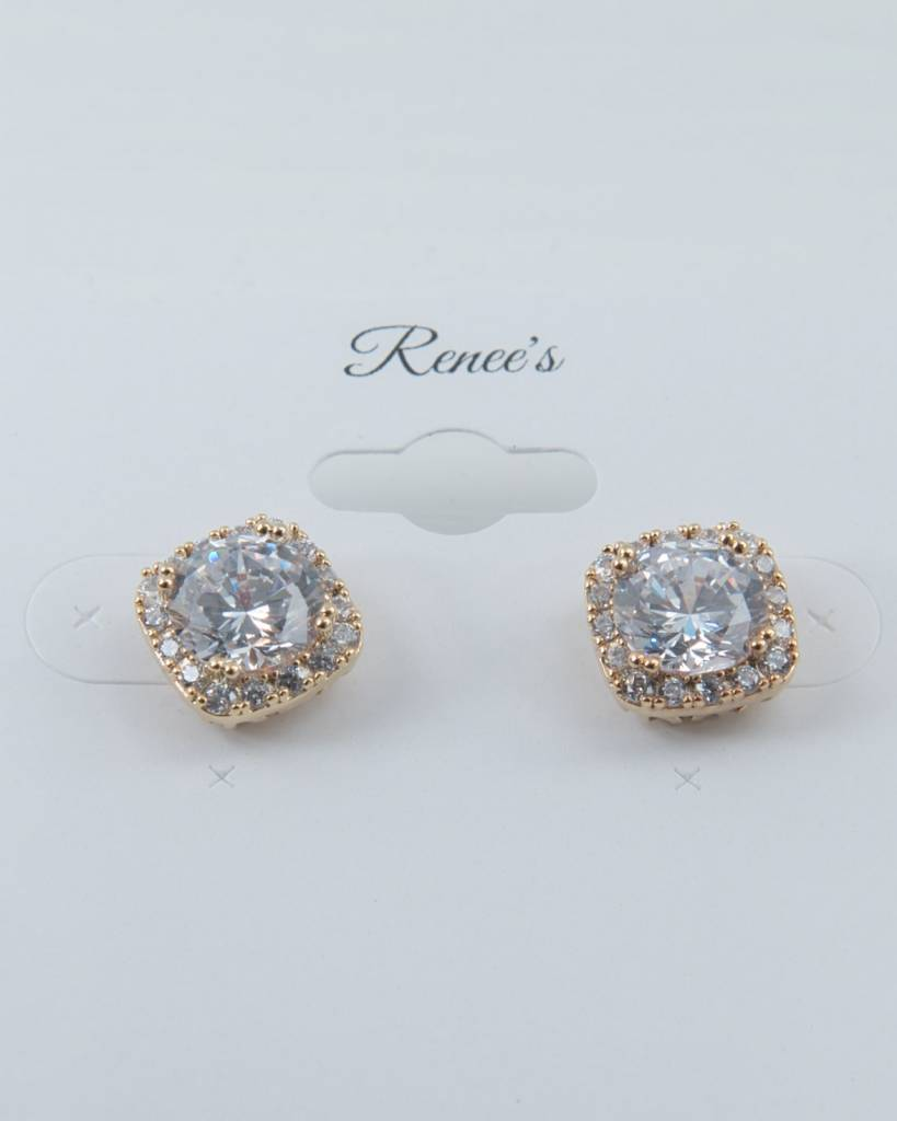 Theia Earrings 26167E0044-HaloStudEarringsGold