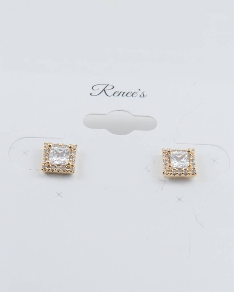 Theia Earrings 28721E0018-HaloPrincessCZStudEarringsGold