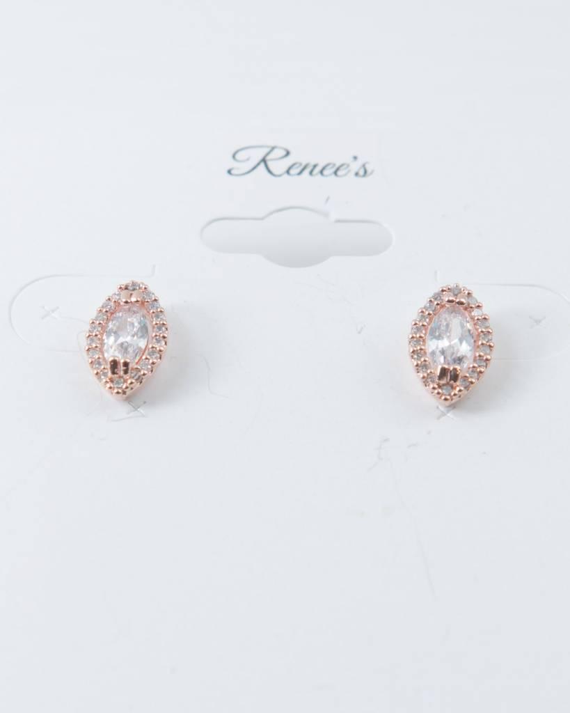 Theia Earrings 28726E0018-HaloMarquisCZStudEarringsRoseGold