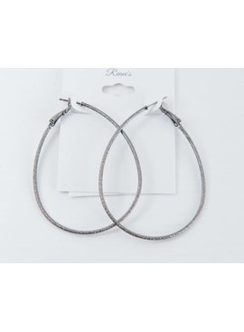 Theia Earrings 22103E0015-DiamondDustTearDropHoopsGunMetal