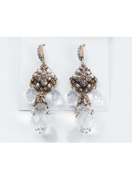 Theia Earrings 10435E0148-IsabelleChandelierEarringsSwarovskiDropsAntiqGold