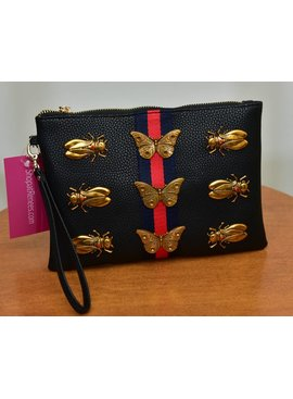 Inzi Handbag U7280-BlackBugSmlClutchBag