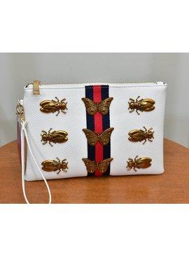 Inzi Handbag U7280-WhiteBugSmlClutchBag
