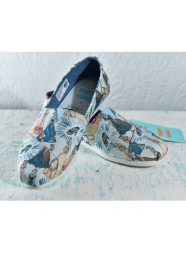 Toms Womens Shoes 10012497-WmBlueCinderellaPrintCvs