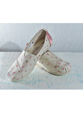 Toms Womens Shoes 10012652-WmClassicPaleBlushMetallicPartyDots
