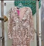 Nude Sequin Mini Dress - DRS9177