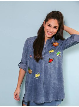 Denim Tunic With Embroidery