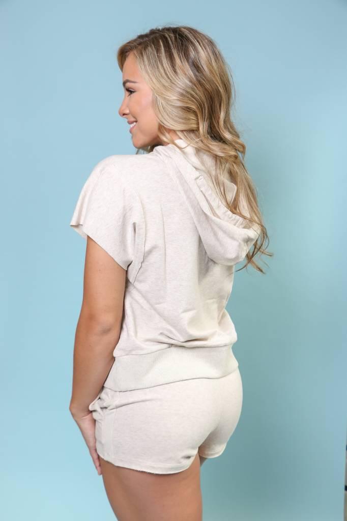 Short Sleeve Hooded Sweatshirt & Short Set - DMTB1017
