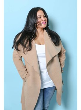 Oversize Belted Waterfall Coat Camel OS