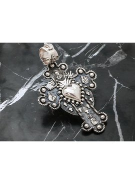 Pendant Cross Sacred Heart Double
