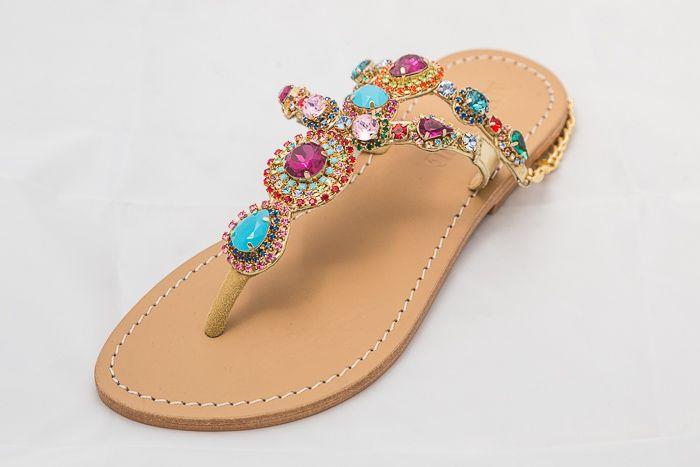 6377 - Multi - Colored JeweledSandals