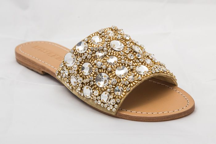 e7a99443b0f7 7478 - Gold Jeweled Sandals - Renee s of Sharyland