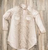 Dress Shirt Dress-Long Slv W/CrystalStones