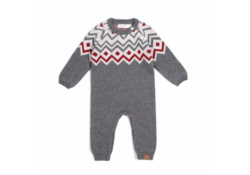 Miles Baby Brand ROMPER TRICOT HOLIDAY - GRIS / 6 MOIS