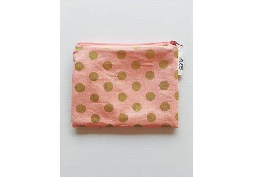 G.A.M POCHETTE À COLLATION - ROSE À POIS OR