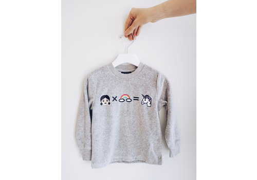 BIRDZ Children CREWNECK UNICORN - GRIS