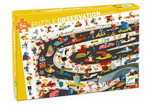 DJECO PUZZLE D'OBSERVATION (54 MCX) - RALLYE AUTO