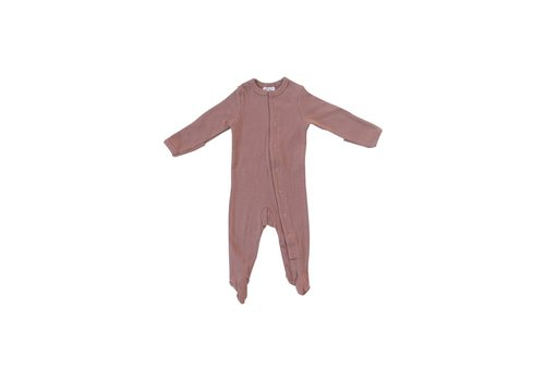 MEBIE BABY PYJAMA À PATTES COTELÉ - DUSTY ROSE (SNAP)