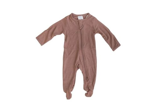 MEBIE BABY PYJAMA À PATTES COTELÉ - DUSTY ROSE (ZIPPER)