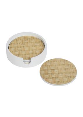 White Raffia Coaster Set