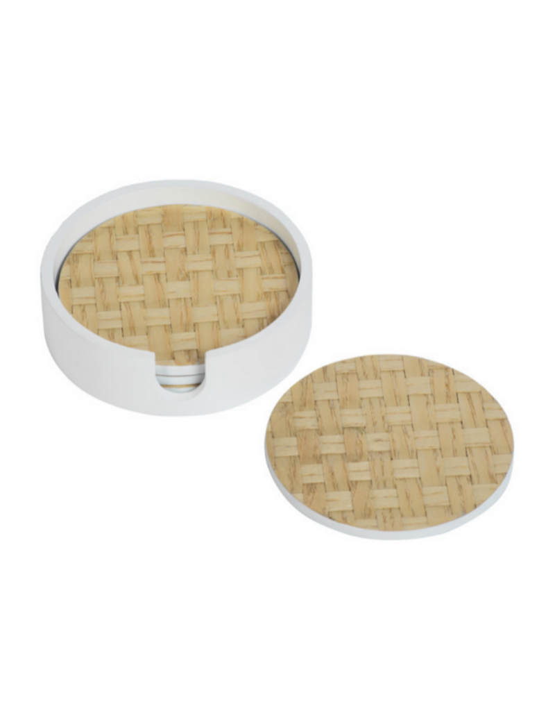 White Raffia Coaster Set