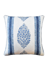 Blue & White Paisley Stripe Pillow