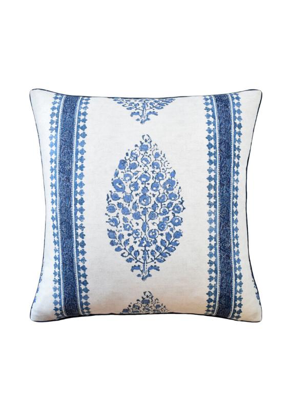Blue & White Paisley Stripe Pillow
