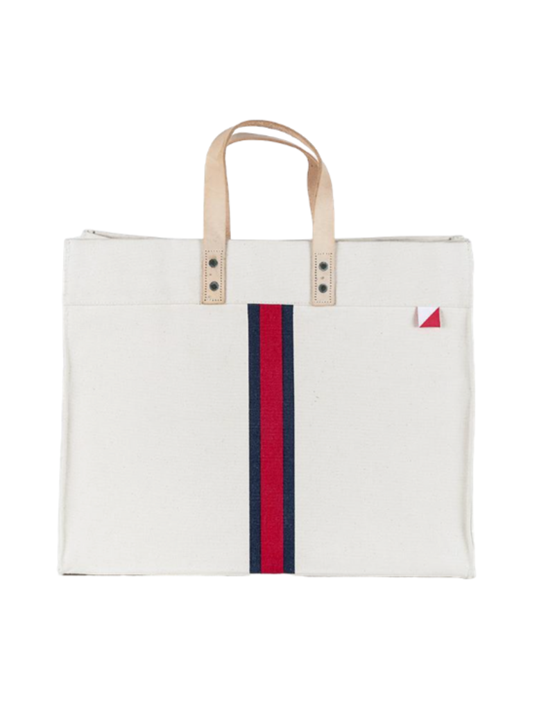 Navy & Red Striped Box Tote