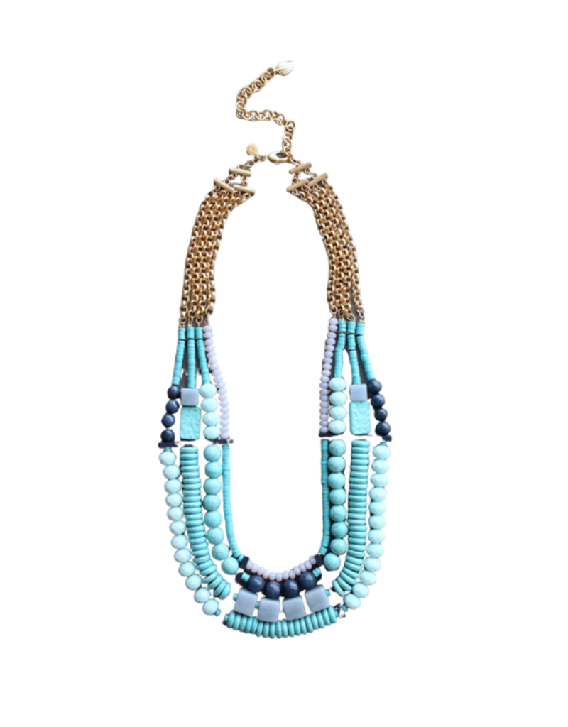 Necklace short blues/grey/bar beads
