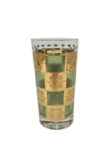 Vintage Set of 6 Gold & Green Medallion Highball Glasses