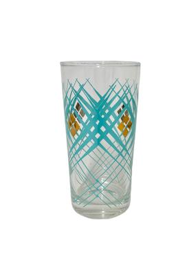 Vintage Set of 6 Aqua & Gold Highball Glasses