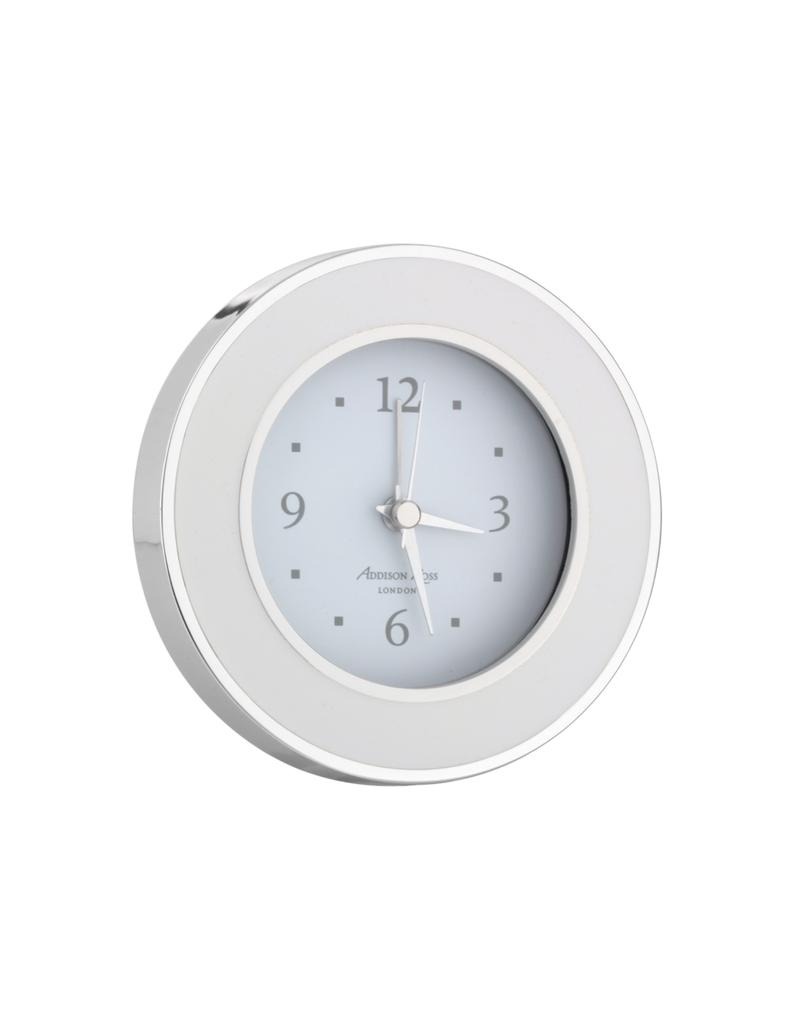 White & Silver Enamel Clock